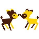 Cute two deers cute noses together