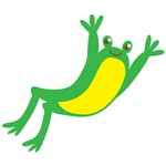 Leaping green frog