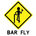 Warning  Bar Fly  funny apparel