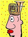 Tuba Head Cartoon Man