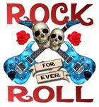 Rock N Roll logo Blue guitars