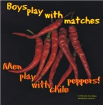 Men play with chili peppers
