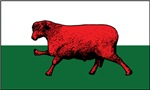 Welsh flag with sheep