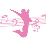 Musical notes and dance pink