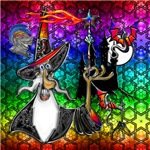 Mystical Fire Wizard Magician Rainbow Star Collage
