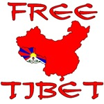 FREE TIBET with Map on T-shirts, Stickers