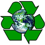 Recycle Symbol with Earth on T shirts, Buttons
