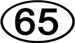 Number 65 Oval (Black)