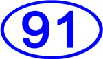 Number 91 Oval (Blue)
