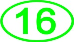 Number 16 Oval (Green)