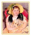 VINTAGE DOG ART: SARA & PET DOG