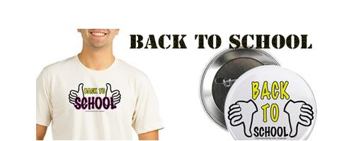 BACK TO SCHOOL wear fun stuff apparel, tote bags, travel mugs, wall clocks, dorm accessories, posters, prints, tees and more