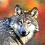 Grey Wolf Oil Painting Prints, Cards, Trays, Buttons, Stickers, Magnets, and more!