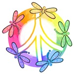 Dragonfly Peace Sign ~ Dragonfly Peace Sign T-shirts for everyone.
