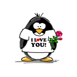 I Love You Penguin with Rose