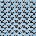 Pugs on Pastel Blue