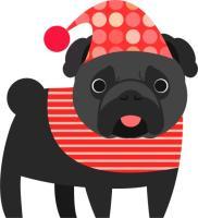 Christmas Pug - Black