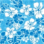 Blue Hawaiian Floral Pattern