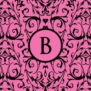 MONOGRAM Pink & Black Damask Pattern