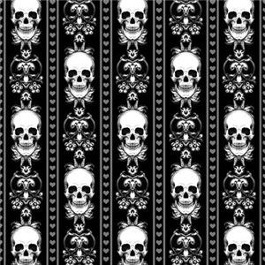 Baroque Skull Stripe Pattern Black