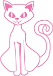 Retro Pink Cat Outline T-shirts