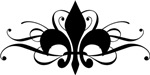Fleur De Lis With Swirls T-shirts