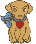 Puppy With Heart Tag T-shirts