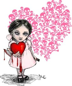 Malicious Valentine Girl Skull Heart