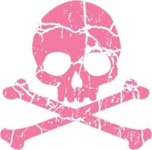Cracked Pink Skull And Crossbones
