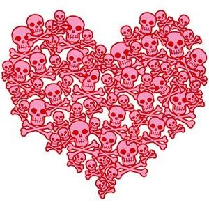 Pink Red Skull Heart