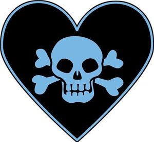 Blue Skull Crossbones Heart