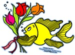 With Love fish, cute fish with love flowers