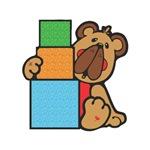 Cute Little Bear with Blocks