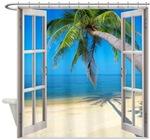 Beach Window Shower Curtains