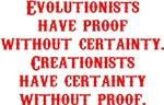 Evolutionists have proof without certainty. Creati