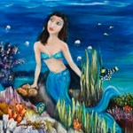 mermaid under the midnight sky