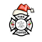 Firefighter Christmas Santa on Fire Dept Logo
