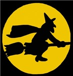 Broomstick Witch and Full Moon