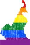 Cameroon Rainbow Pride Flag And Map