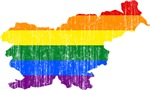 Slovenia Rainbow Pride Flag And Map