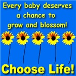 Choose Life Five Flowers Natural Baby Blue