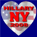 Love Hillary NY 2008 Flag Heart