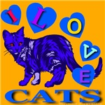 I Love Cats Midnight Blue