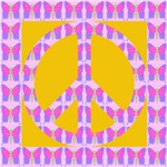 Peace Symbol Butterflies on Gold