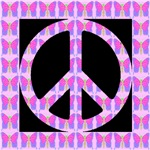 Peace Symbol Butterflies on Black