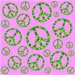 Peace Symbols Cyan Mosaic