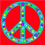 Peace Symbol Stars On Red