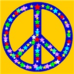 Peace Symbol Stars Golden Sunshine