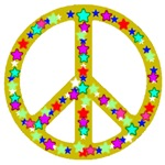 Peace Symbol Bronze Stars