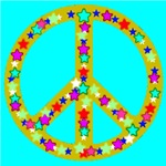 Peace Symbol Bronze Stars Skyblue